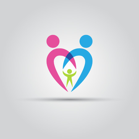 Parents and the child in the form of heart isolated vector abstract icon