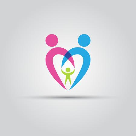 Los padres y el niño en forma de corazón aislado icono de vector abstracta Foto de archivo - 42094588