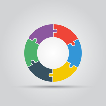 puzzle wheel flat colored vector isolated template for your infographic