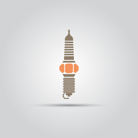 car spark plug isolated flat vector object