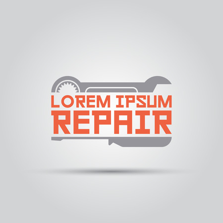 horizontal moiety wrench and screwdriver between which text isolated vector logo template for repair menu or mechanical service company Çizim