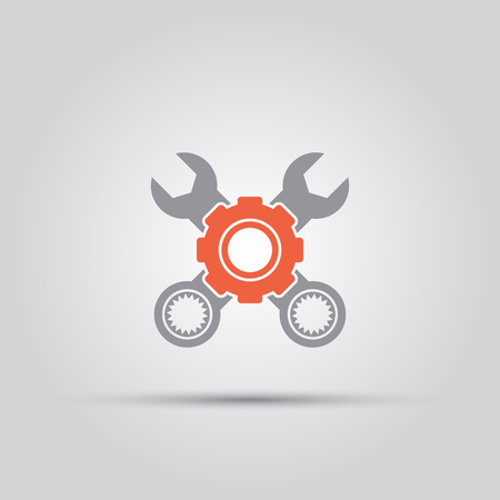 gear behind which two crossed wrenches isolated vector colored single icon Çizim