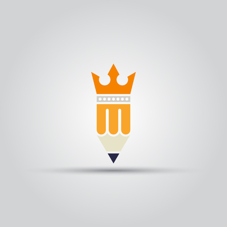 poems: Pencil with crown isolated vector colored icon on a white background.