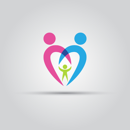 happy family: Parents and the child in the form of heart isolated vector abstract.