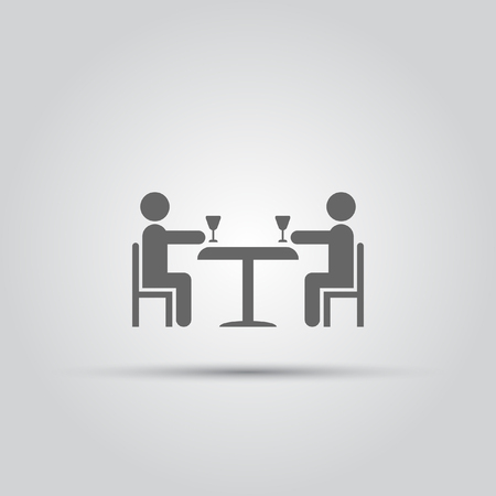happy family: Two abstract people sitting at a table with glasses of wine isolated vector icon on a white background.