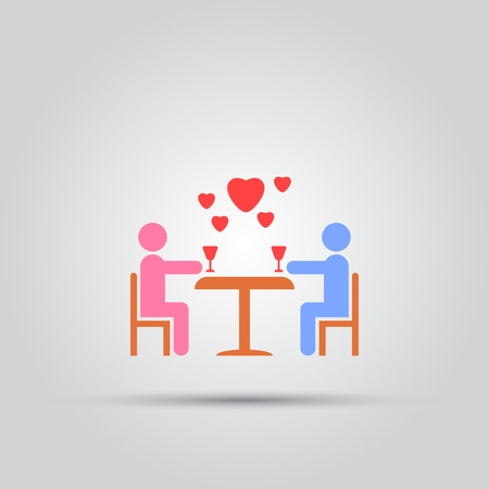 happy family: Couple in love sitting at a table with glasses of wine abstract isolated vector icon.