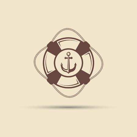 Lifebuoy and anchor vintage vector label on a pink background. Illustration