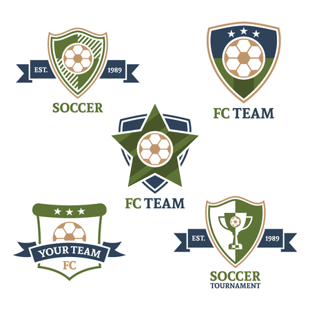 Set of soccer sport team colored emblems isolated vector 5 pcs Illustration