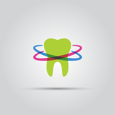 Tooth around which the lines vector colored abstact logo