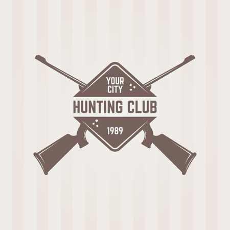 Hunting club isolated vector emblem template, two crossed hunting rifle and road sign