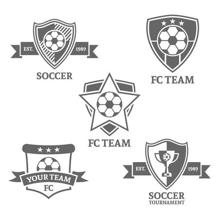 Set of monochrome vector emblems for soccer team on white background