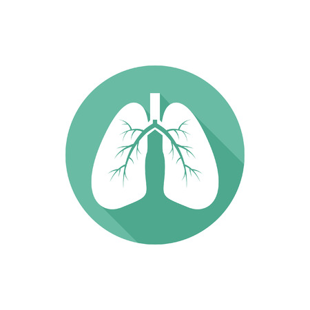 Lungs isolated vector round flat icon with long shadow