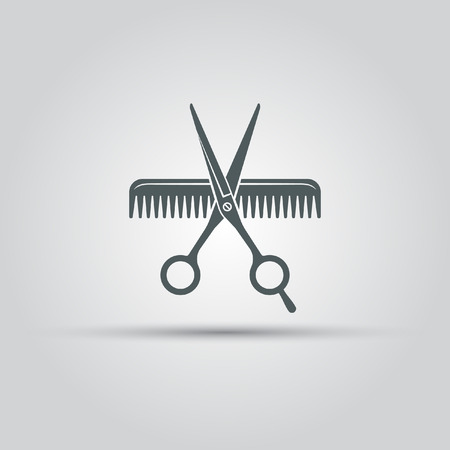 Scissors and comb lis isolated vector icon