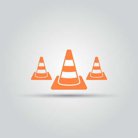 Road cone isolated vector colored icon