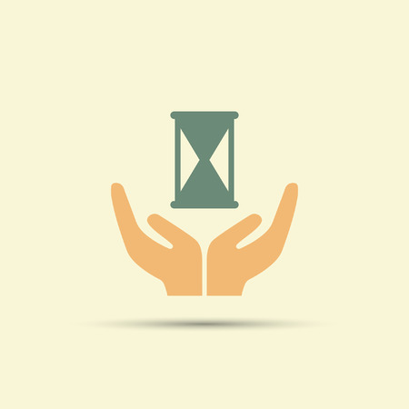 Two open hands holding sandglass isolated vector colored icon Çizim