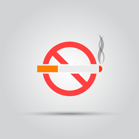Cigarette crossed in the red circle isolated vector colored icon Illustration