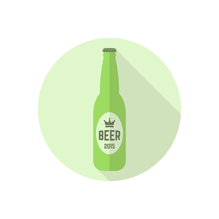A bottle of beer vector colored round flat icon with long shadow.