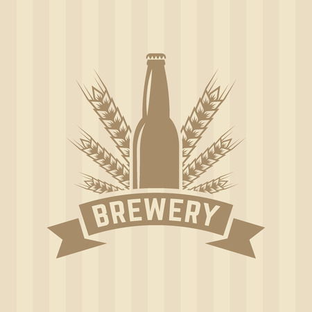 original single: Bottle beer and wheat single vector colored label