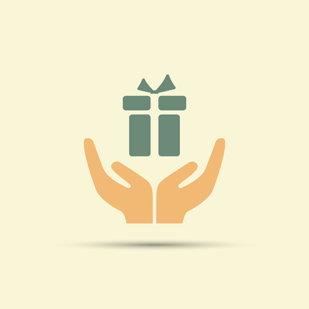 Two open hands holding gift box isolated vector colored icon Illustration