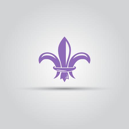swirl: Fleur-de-lis isolated vector colored icon