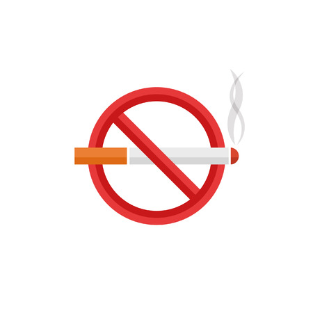 Cigarette crossed in the red circle flat warning vector sign on white background Illustration