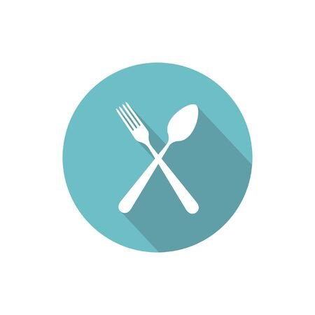 flatwares: Crossed fork and spoon isolated vector flat round icon with long shadow