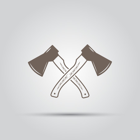 heavy industry: Two crossed hatchets isolated vector elements