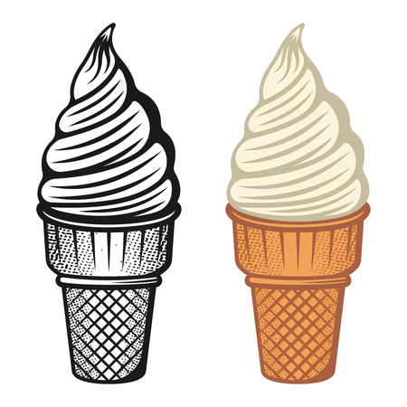 Ice cream vector illustration set Vettoriali