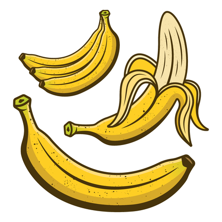 Bananas set of colored yellow cartoon elements and objects vector illustration Vettoriali