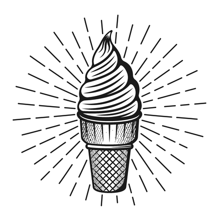 Ice cream with rays vector illustration