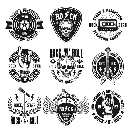 Rock n roll music zestaw ilustracji wektorowych vintage herby
