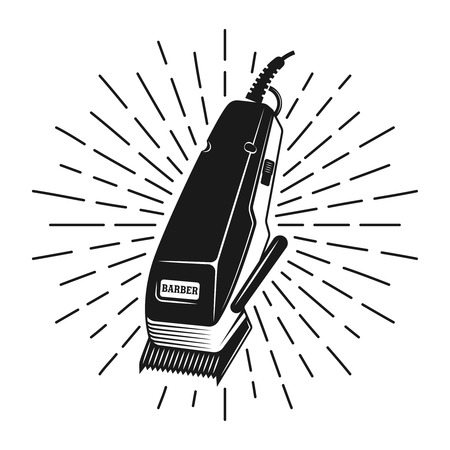 Hair clipper stamp with rays vector monochrome illustration in vintage style isolated on white background