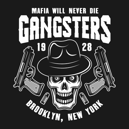 Mafia emblem or logo concept design with gangster skull in fedora hat and two guns isolated on dark background
