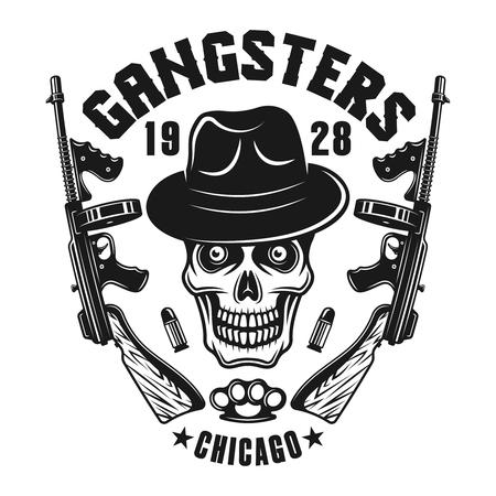 Mafia emblem. Gangster skull in hat with two machine guns.