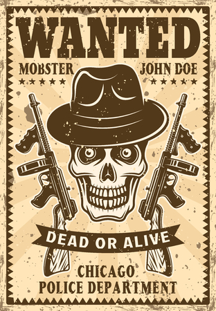 Gangster skull in fedora hat with two submachine guns wanted poster in vintage style illustration
