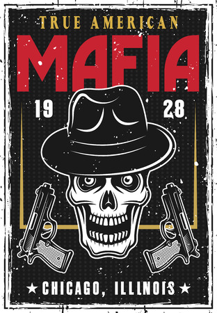 Mafia and gangsters poster with bandit skull in hat and two guns on dark background.