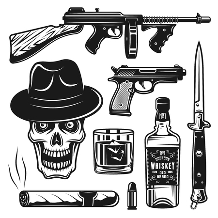 Set of mafia and gangsters vintage objects isolated on white background Illustration