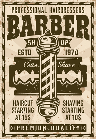 Barber shop vintage poster with pole and blade illustration