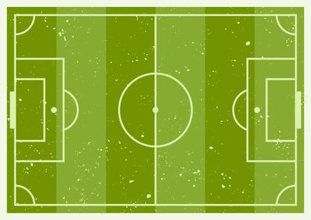 Green soccer striped field scheme  background top view with grunge textures on separate layer Standard-Bild - 98083728