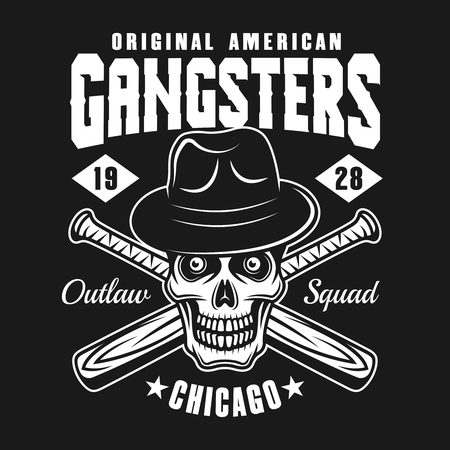 Gangsters emblem or logo concept design with skull in fedora hat and two crossed bats isolated on dark background
