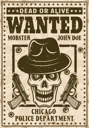 Mafia wanted poster in vintage style with mobster skull in hat and two guns vector illustration.