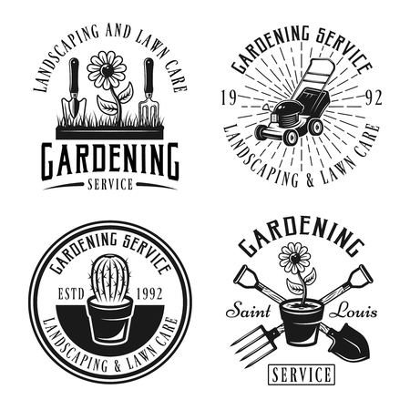 Set of four gardening service vector emblems, badges, labels or logos in retro style isolated on white background