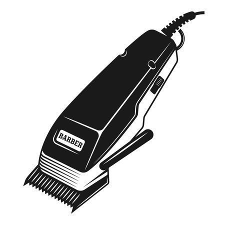 Electrical hair clipper or shaver vector illustration in monochrome vintage style isolated on white background