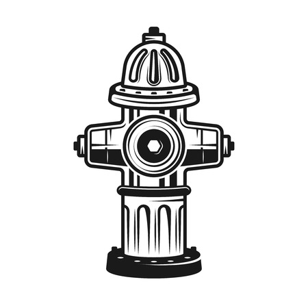 Fire hydrant vector detailed illustration in vintage monochrome style isolated on white background
