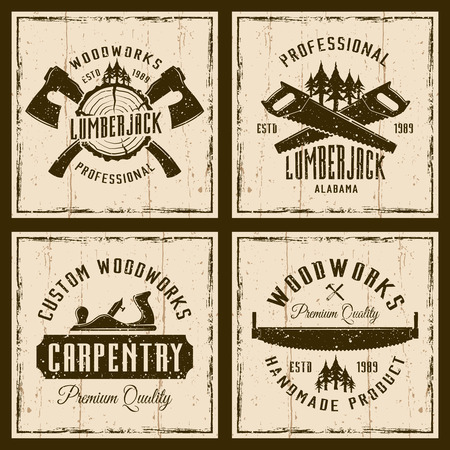 Woodworks and carpentry four colored emblems or shirt prints on background with grunge textures and frame vector illustration