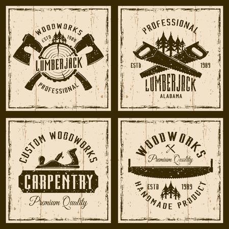 Houtbewerking en timmerwerk vier gekleurde emblemen of shirt prints op achtergrond met grunge texturen en frame vector illustratie