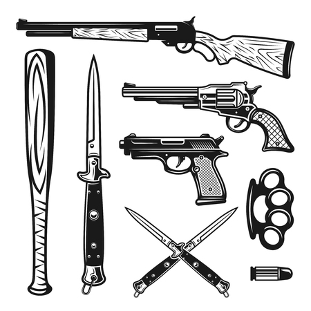 Weapons vector design elements and objects in vintage monochrome style isolated on white background Vectores