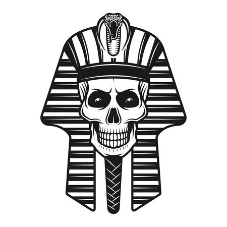 Pharaoh skull, egyptian ancient vector illustration in vintage monochrome style isolated on white background Vettoriali