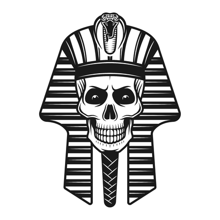 Pharaoh skull, egyptian ancient vector illustration in vintage monochrome style isolated on white background Ilustração