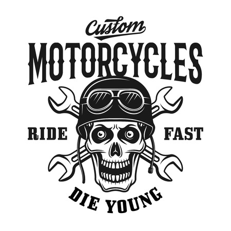 Custom motorcycles vintage emblem, label, badge with skull in helmet and two crossed wrench vector illustration on white
